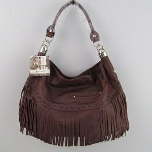 B. Makowsky Brown Fringe Shoulder Large Bag
